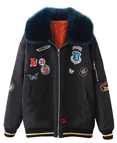 Brinny Damen Winterparka Faux Pelzkapuzen Patches Design Basis Casual Winter Mantel Jacke Steppjacke Schwarz