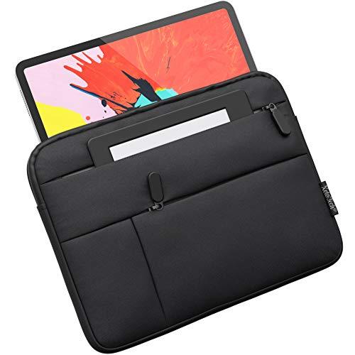 XeloTech Tasche kompatibel mit 9-11 Zoll Tablets wie iPad 10.2, 9.7, iPad 10.5, iPad 11 - Top Schutz - Mit Seitenfächern für Zubehör -Elegantes klassisches Design - Schwarz