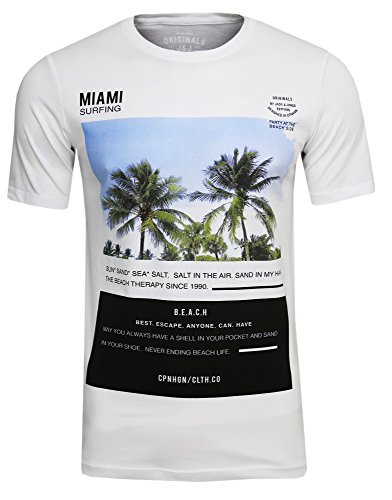 JACK & JONES Phone Freizeit/Sport/Club T-Shirt mit Strand Aufdruck Print(White Mela,M) -