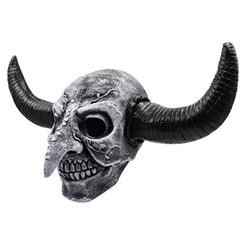 Foroner Schwarze Halloween Latex Maske beängstigend Tier Rinder Hörner Maskerade Kostüm Cosplay (Schwarz)