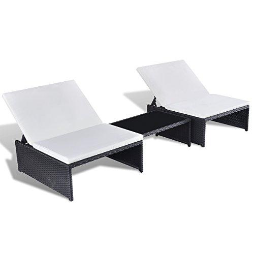SSITG Poly Rattan Sonnenliege Lounge 2-er Liege Gartenmöbel Tisch ...