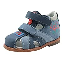 Apakowa Toddler Kids Baby Boys Soft Leather Closed Toe Summer Flat Sandals 2-Strap Anti-Slip Soft Sole First Walking Shoes (Color : Blue, Size : 4 UK Child)