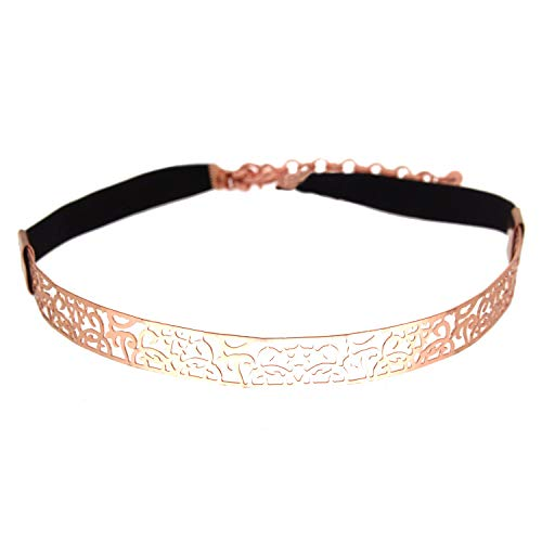 Sweet Deluxe Choker Dionne, Rosegold/schwarz I auffälliges Halsband für Damen & Mädchen I Frauen Halskette Gothik Kropfband I Collar (Frauen Fantasy Braut Kostüme)