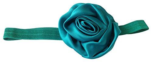 NeedyBee Green Rose Satin Rosette Headband Hair Accessories for Babies/Princess/Girls/Toddler(Kids Hair Accessories)