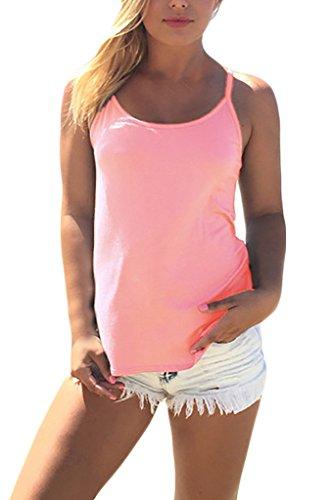 Frauen Tank Top Chaleco Vest Ärmellos U Ausschnitt Rückenfrei Trägerlos  Dünn Kreuz Geöffnete Gabel Locker Einfarbig Pink