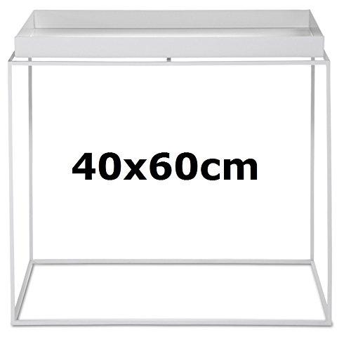 Fieno Tavolino Tavolino Rettangolare in metallo verniciato a polvere bianco, Tavolino Tavolino