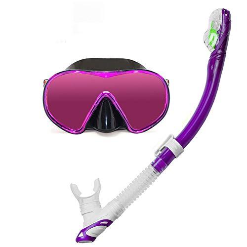 LAIABOR Sportastisch Schnorchelset Premium Taucherbrille mit extra langem Trockenschnorche und Tempered Glass für Erwachsene,Purple