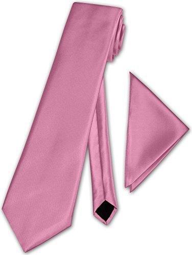 Herren Krawatte klassisch mit Einstecktuch Klassik Anzug Satinkrawatte - 30 Farben (Rosa) -