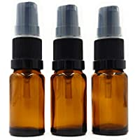 Paquete de 3 Botellas de Vidrio Ámbar de 10ml para Aromaterapia con Bomba de Suero Negra
