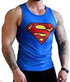 Khroom hochwertiges Herren Funktionsshirt Tank Top für Fitness, Sport & Gym - Kompressionsshirt im Superman Design (M)