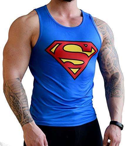 Khroom hochwertiges Herren Funktionsshirt Tank Top für Fitness, Sport & Gym - Kompressionsshirt im Superman Design (L)