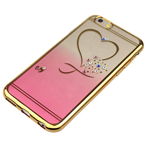 Coque iPhone 6 Silicone, Etui iPhone 6S Souple TPU, iPhone SE Transparent Case, Moon mood® Soft Gel TPU Bumpour pour Apple iPhone 6S Protection Housse Coquette Gel Coque Ultra Mince Case Cover Telepho Rose