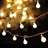 befon Lichterkette 100LEDs Warm Weiß Lichterkette von Klar Kabel–Low Spannung netzbetrieben für Innen und Außenbereich Seasonal Decor Seil (/OD 10Mio.) Round Light 10M 100LED