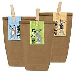 Idea Regalo - Papierdrachen 12 Sacchetti regalo DIY per la Pasqua da riempire - Nido di Pasqua Do It Yourself con 12 sacchetti di carta e adesivi di coniglietto di Pasqua - Disegno 11