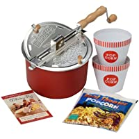 Whirley Pop 26007-AMZ Movie Night Stovetop Popcorn Popper, Barn Red, Set of