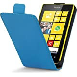 Nokia Lumia 520 / Lumia 525 Premium Patent PU Leather High Gloss Neon Bright Flip Case with Magnetic Clasp - Blue