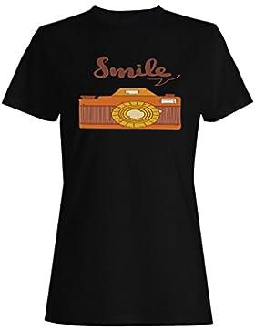 Regalo positivo de las vibraciones de la cámara de la foto de la sonrisa camiseta de las mujeres e936f