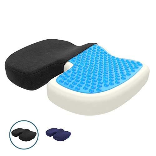 bonmedico Orthopädisches Sitzkissen mit Gel-Schicht, Memory Foam Stuhlkissen zur Steißbein-Entlastung, Druckentlastend z.B. bei Dekubitus, Für Auto, Büro & Rollstuhl, Standard -