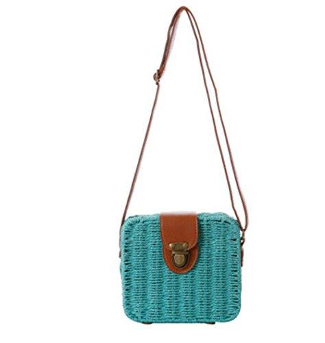 Sacchetto di paglia della borsa della traversa della borsa della caramella del pacchetto Piccolo quadrato della scatola Tote di tessitura di modo semplice della spiaggia , light brown lake blue