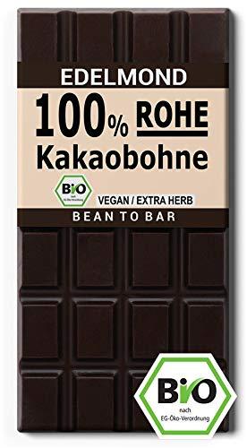 Edelmond Bio Rohe 100% Edel - Kakaobohne Tafel. Pur abgestimmter Kakao. Sehr bitter - keine normale Schokolade. Cadmium getestet. (1 Tafel) - Plantagen Dunkle Schokolade