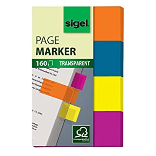 SIGEL HN614 Haftmarker Film, 160 Streifen im Format 20 x 50 mm, orange, blau, gelb, lila - weitere Modelle