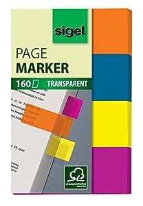 Sigel HN614 Marque-pages adhésifs en papier film transparent, 160 feuilles de 5 x 2 cm, 4 couleurs