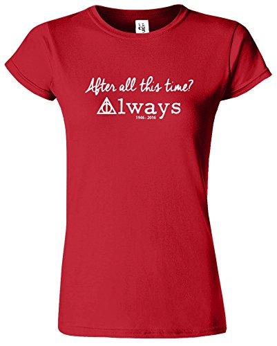 Harry Potter Womens T-shirt Reliques de la Mort Crewneck Top Tee Rouge / Blanc Design