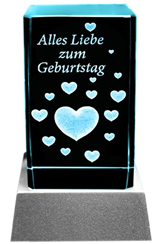 Kaltner Präsente Stimmungslicht LED Kerze/Kristall Glasblock / 3D-Laser-Gravur Herzen ALLES LIEBE ZUM GEBURTSTAG