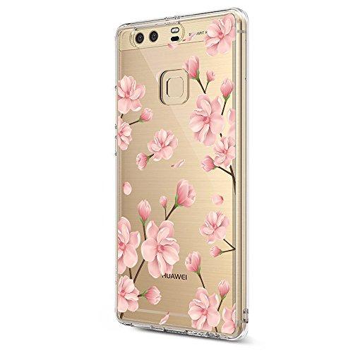 Pacyer Case kompatibel mit Huawei P9 Hülle Silikon Ultra dünn Transparent Handyhülle Huawei P9 Schutzhülle Silikon Rückschale TPU für HUAWEI P9 Cover Rot Blume Mädchen Macaron(Blumen 5)