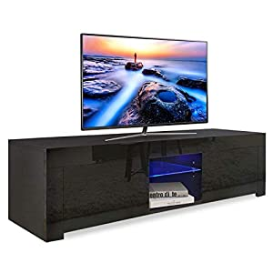 YOLEO TV-Lowboard mit LED-Beleuchtung, Fernsehschrank Hochglanz, Fernsehtisch TV-Schrank Stehend TV-Regal 130x35x35 cm…