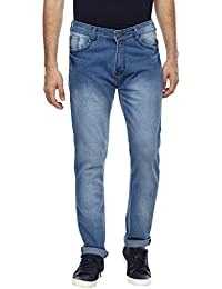 Urbano Fashion Men's Light Blue Slim Fit Stretch Jeans