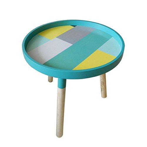 CVHOMEDECO. Élégant KD Table basse ronde en bois amovible rond Accent Table Peut être Démontage d'appoint avec 3 amovible Legs. Diá.39,4 x H41 cm