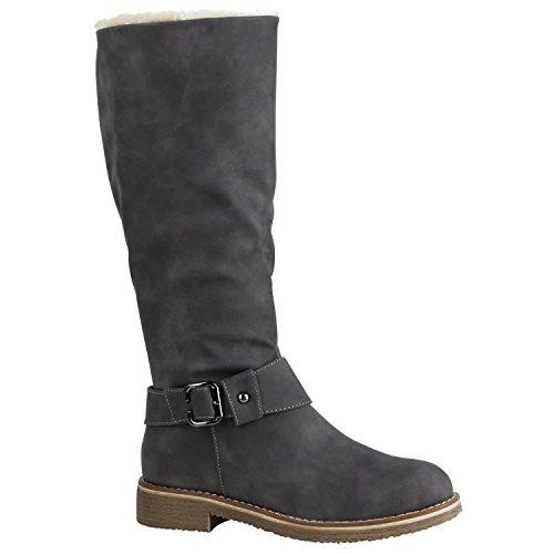Damen Bikerstiefel Warm Gefütterte Schuhe Schnallen Stiefel Nieten 152377 Grau Schnallen 36 Flandell