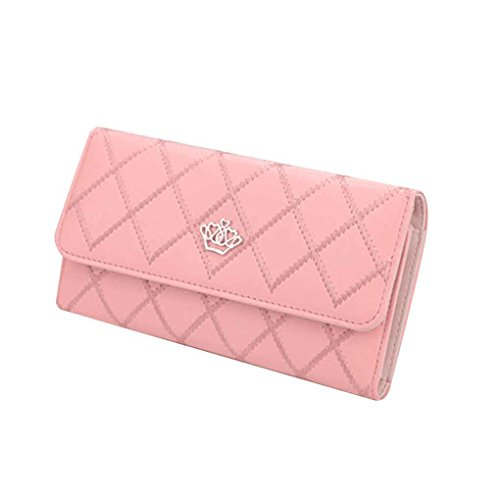 Miaomiao Lattice Grids modello PU borsa portafoglio borsa borse donna borsa lunga rosa
