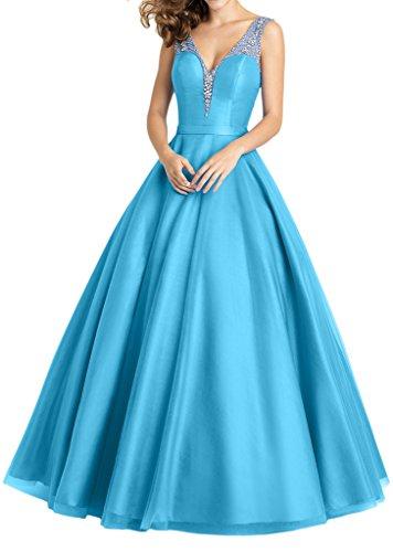 Promgirl House Damen Hochwertig Satin Trager Prinzessin Abendkleider Ballkleider Hochzeitskleider Lang Blau