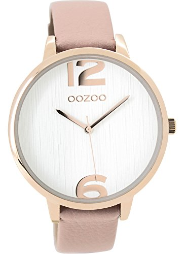 Oozoo Damenuhr mit Lederband 42 MM Rose/Weiss/Pinkgrau C9533