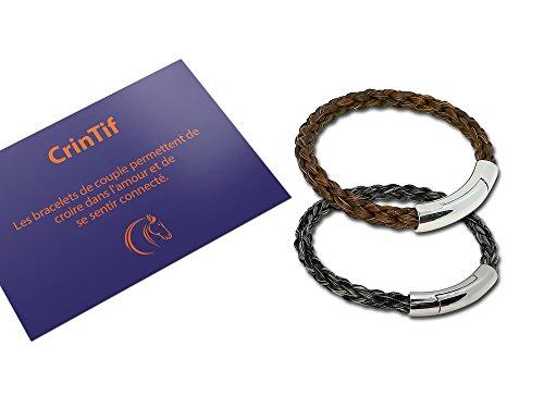 Bracelet Distance pour Couple en Crin de Cheval - 18 a 19 cm - 2 Bracelets Collection Montana - Tressage Rond - Bijoux Cheval Pour Femme et Homme - Marron et Gris