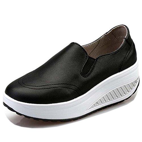 Solshine Damen Einfach Leder Bequem Erhöhte Sportliche Loafers Freizeitschuhe (Bequeme Schwarz)