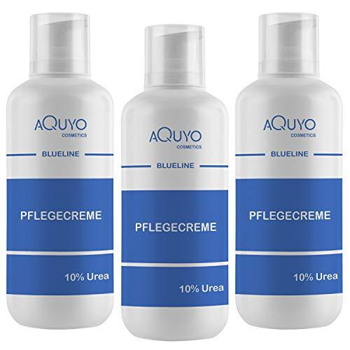 Blueline 10% Urea Creme für sehr trockene und empfindliche Haut (3x 500ml) | Körpercreme bei Psoriasis oder Neurodermitis, Pflegecreme gegen Juckreiz, Hautpflege für Hautunreinheiten und Ausschlag