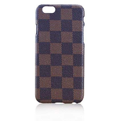 Faux-leder-designer (iPhone 8/7 Kompatibel, Luxus Braun Checker Faux Leder Fashion Designer-Brieftasche Flip Cover Haut Case Ständer)