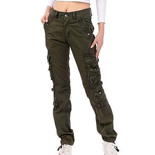 Damen Unifarben Arbeitshose Gerade Cargo Hosen Vintage Cargohose Mehrere Tasche Hosen angenehm & strapazierfähig Hosen (38, Khaki)