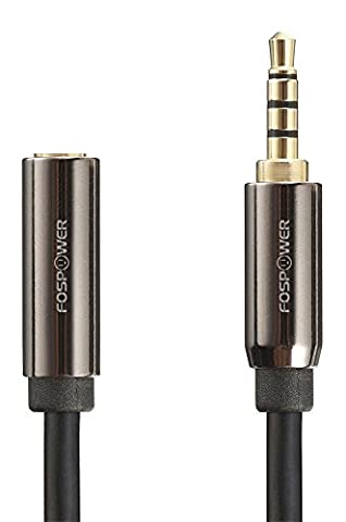 Audio Extension Cable (6 Feet / 1.8 Meters), FosPower 3.5mm [4-Conductor TRRS | Gold Plated] Male To Female Auxiliary Stereo Jack Cable Cord for Phones, Headphones, Speakers, Tablets, PCs, MP3 Players and