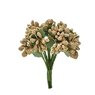 12pcs/Bunch Artificial Stamen Bud Silk Flower Bouquet Wedding Decor DIY Craft Gift Box Golden by amazing-trading