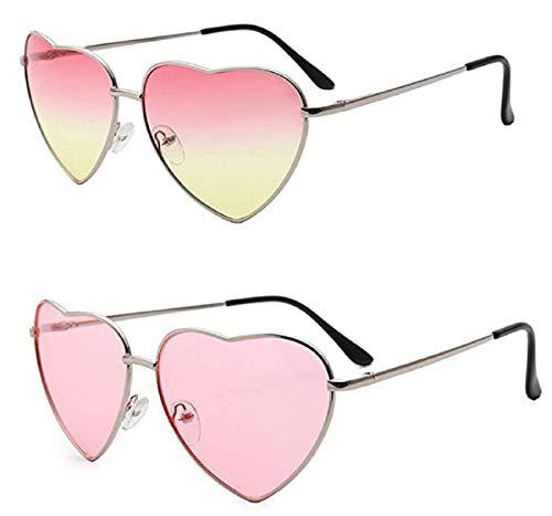 YAOJIN 2 Paare Hippy Brille Herz Geformt Sonnenbrille for Hippie Verrücktes Kleid Zubehörteil, Rose Gold Rahmen