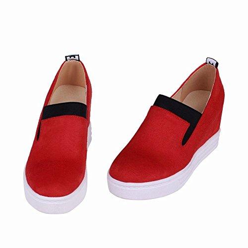 Mee Shoes Damen bequem simpel Geschlossen invisibel Heel Durcchgängiges Plateau Pumps Freizeitschuhe Rot
