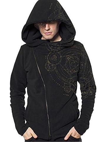 Herren Hoodie mit Magic Circle Geometrischem Urban Style Aufdruck - Schwarz - Medium - handgefertigt (Novità Mens Pullover)