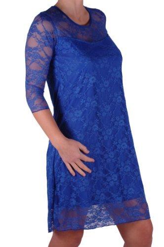 EyeCatch - Robe de soirée stretch mi longue motif floral dentelle grandes tailles - Jolene - Femme Royal bleu