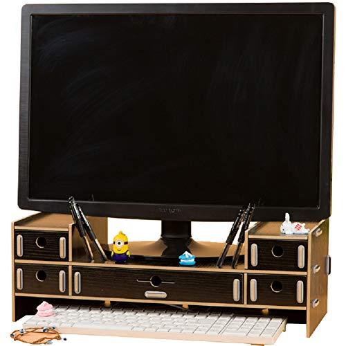 SanQing Monitorständer mit 5 Schubladen, Monitorständer aus Holz, PC-Ständer mit Aufbewahrung, Schreibtisch-Organizer aus Holz,Black