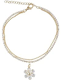 Kiyara Accessories Fashion Jewellery Western Floral American Diamond Anklet In Gold Plating For Women And Girls.