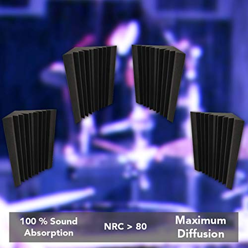 MMT Acoustix® Acoustic Foam Bass Trap Diffuser - Set of 4 (Professional Charcoal)